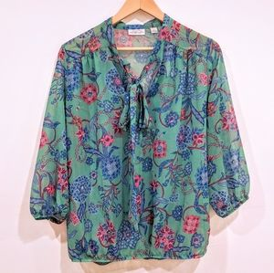 NYC Stacy Frati Floral Bow Loose Fit Blouse Top